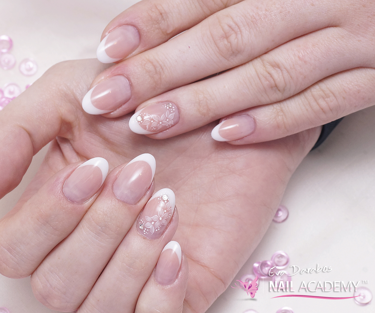 Acrylic Almond Shape French Nails Eva Darabos