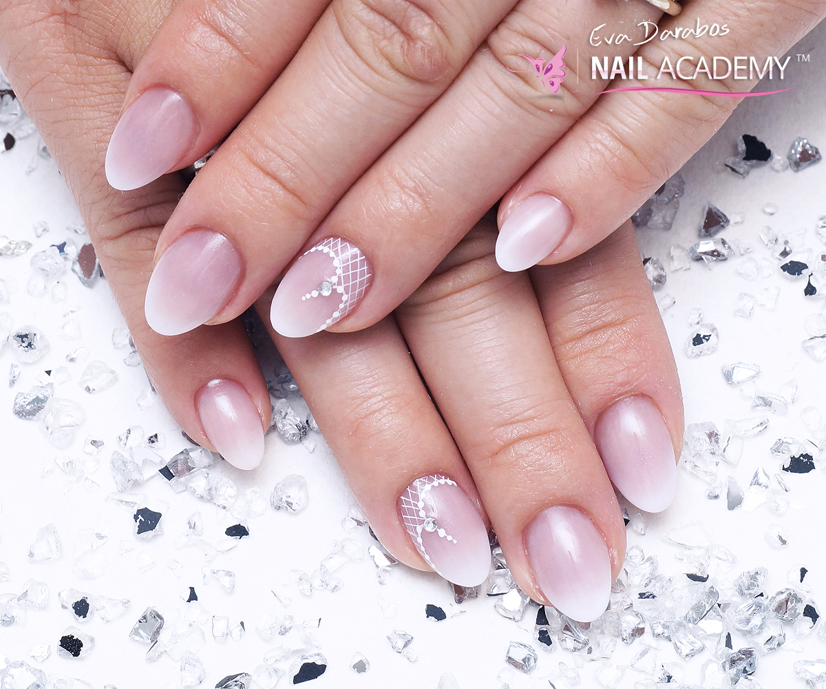 Acrylic almond shape french ombre nails - Eva Darabos