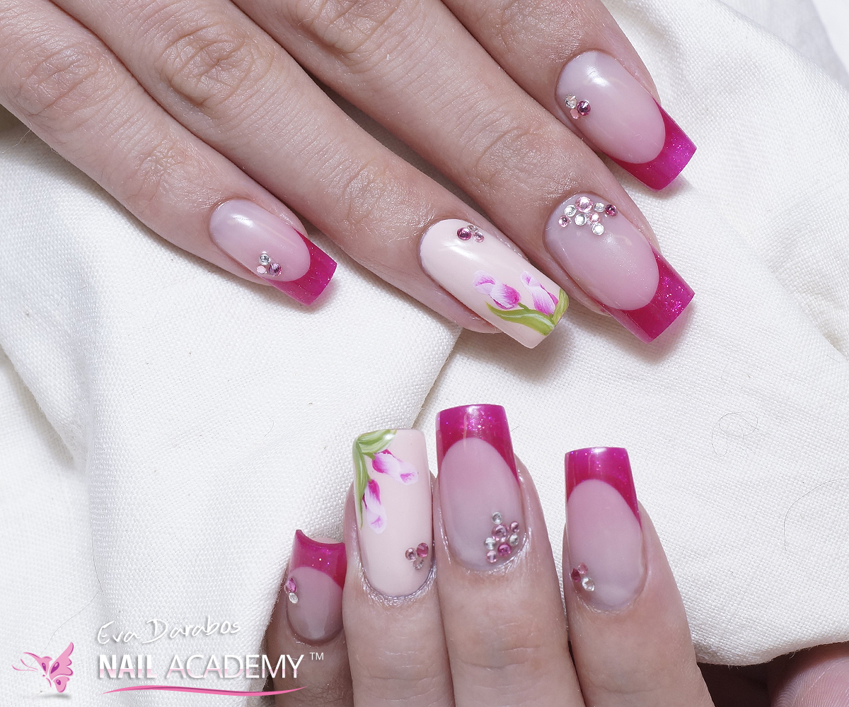 Color french gel nails - Eva Darabos