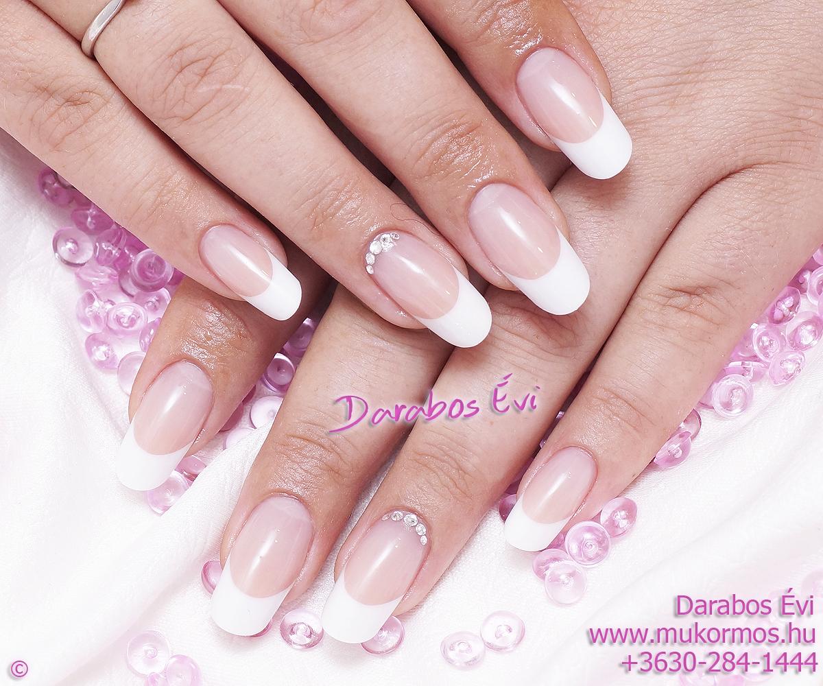French round shape nails with Swarovski crystals , Eva Darabos